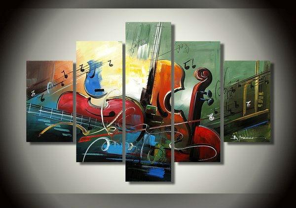 Large Framed Wall Art Musical Instruments Theme Art Oil