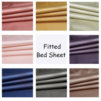 LYN&GY New Luxury Wrinkle Free Hotel Home Egyptian Cotton Satin Fitted Bed Sheet Twin Queen Size sabanas hoeslaken Bed Linen