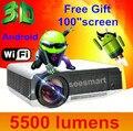Бесплатная доставка! Полный HD1080p Brightness5500 lumens из светодиодов для домашнего кинотеатра Android 4.2 1080 P wi-fi видео из светодиодов проектор