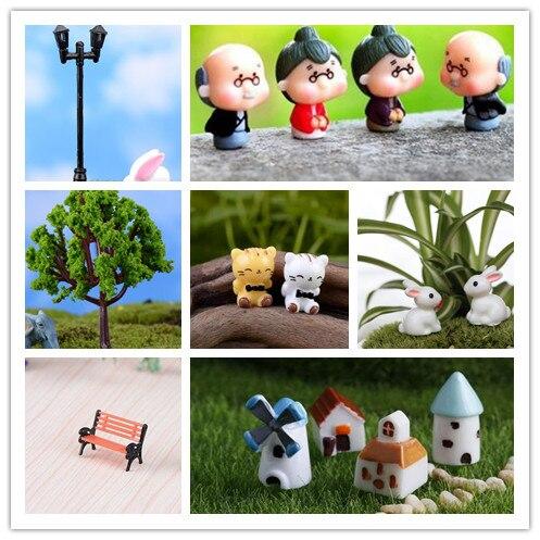 15pieces Micro Landscape Bonsai Plant resin craft Garden Decor Stakes DIY Craft Decor Ornament free shipping old men+house+light