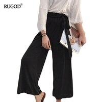 Rugod Black Wide Leg Pants Femme Belt Wrap Cotton Pants Women High Waist Slim Trousers Female