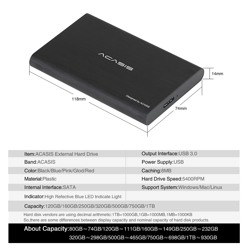 ACASIS 2.5'' External Hard Drive USB 3.0 Colorful Metal HDD Portable External HD Hard Disk for Desktop Laptop Server Super Deals 6