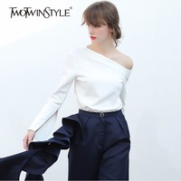 TWOTWINSTYLE Irregular T Shirt For Women Off Shoulder Flare Sleeve Basic Pullover Tops Female Spring Fashion