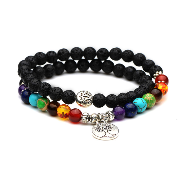 Seven Chakras Natural Stone 6mm Lava Beads Bracelets Diy Essential