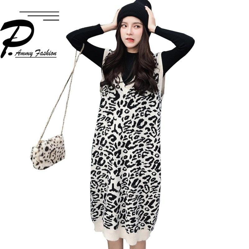 2018 Neue Herbst Winter Geladen Große Größe Gestrickte Pullover Frauen Verdicken Weste In Der Langen Abschnitt V-ausschnitt Leopard Pullover Weste