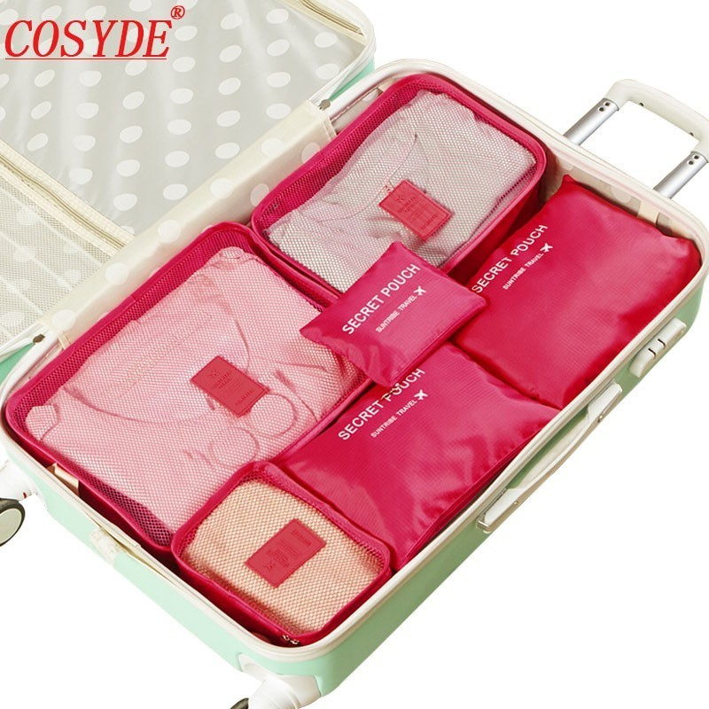 6PCs/Set Travel Accessories Bag For Clothes Portable Pack Luggage Packing Bags Mesh Organizer Travel Bag Suitcase Storage Bags