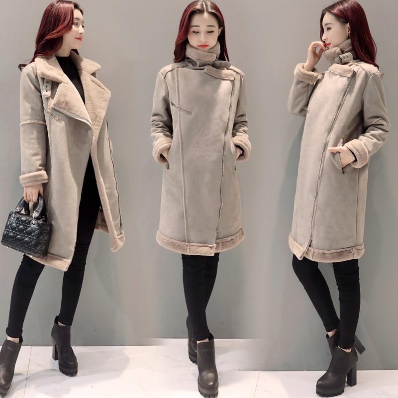 2017 Winter Korea Plus Size Jacket Coat Medium Long Lamb ...