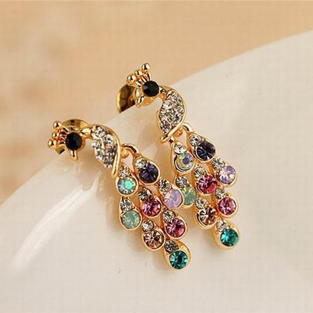 Multi-Color Peacock Crystal Earring