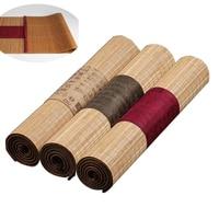 Ukończony rozmiar naturalnego bambusa stolik do herbaty flaga z krawędzi tkaniny do herbaty gospodarstwa domowego mata Retro dekoracji bieżnik kurtyny w Tace do herbaty od Dom i ogród na