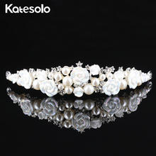 Elegant Wedding Flower Crown & Tiara Silver Color Simulated Pearl Hair Jewelry Comb For Girl Vintage Bridal Pageant Accessories