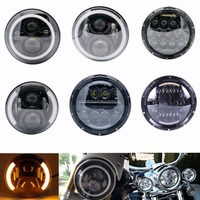 For Harley Davidson Street Glide 7 inch round With Halo & DRL &Turn light Motorcycle Projector Daymaker LED Headlight