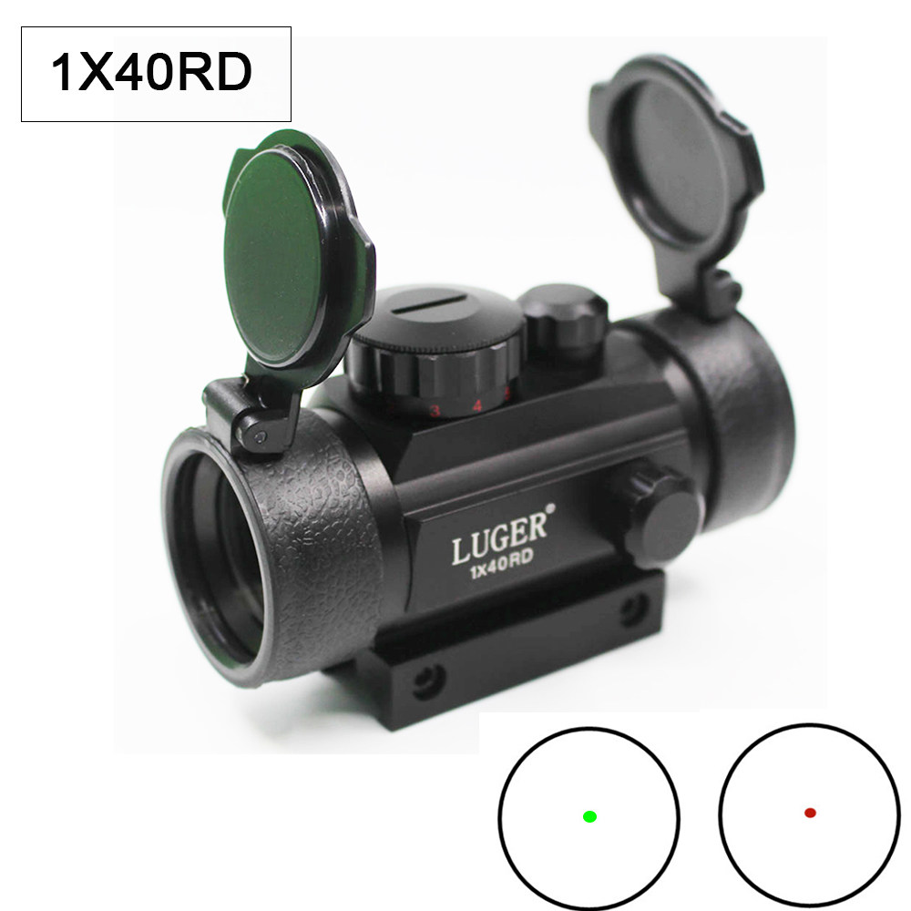 Tactical 1X40 Red Dot Sight Scope Illumination Red Green Adjustable Reflex Sight Scope Hunting Optic With 11/20MM Dovetail Rail