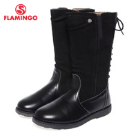 Фламинго качества модная зимняя одежда кожа детская обувь для девочек новинка 2015 Коллекция анти ботинки без застежки с натуральной шерстью