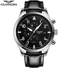 GUANQIN GJ16012 PILOT'S WATCHES Automatic Self-Wind Mechanical Military Watches Business Mens Watch Leather Band montre homme
