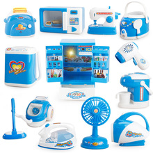 все цены на Children's Play House Small Appliances Washing Machine Toy Rice Cooker Mini Kitchen Toy Refrigerator Table Miniature Furniture онлайн