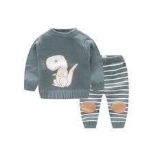 Комплекты для малышей с милым динозавром; свитер для младенцев; Одежда для новорожденных; пуловер из 2 предметов; топы с длинными рукавами+ штаны в полоску; костюмы для маленьких мальчиков