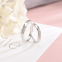 Korean Version of Sterling Silver S925 Ring Twist Couple Ring Original Microset Zircon Men and Women Open To Ring