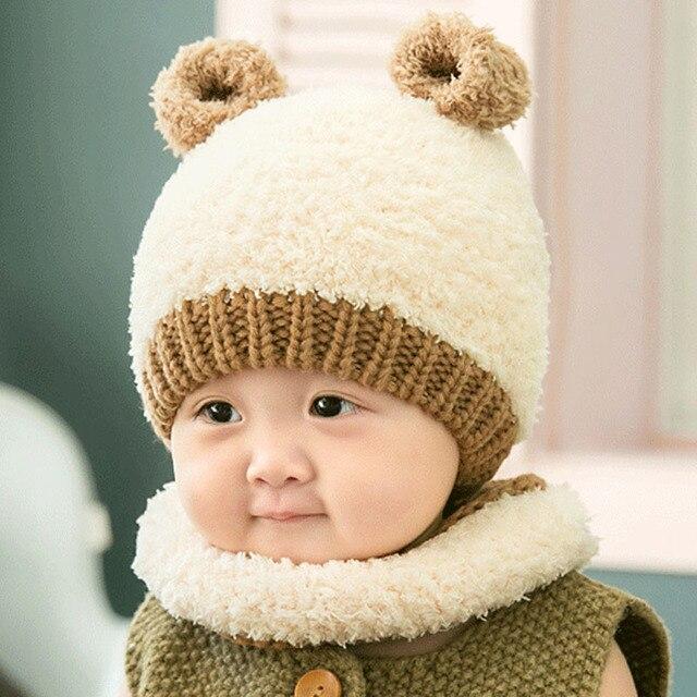 05e03b02a6ce2 Inverno Conjunto Cachecol Chapéu Bonito Do Bebê Do Algodão Quente Malha  Lenços Gorro Menino Menina Infantil