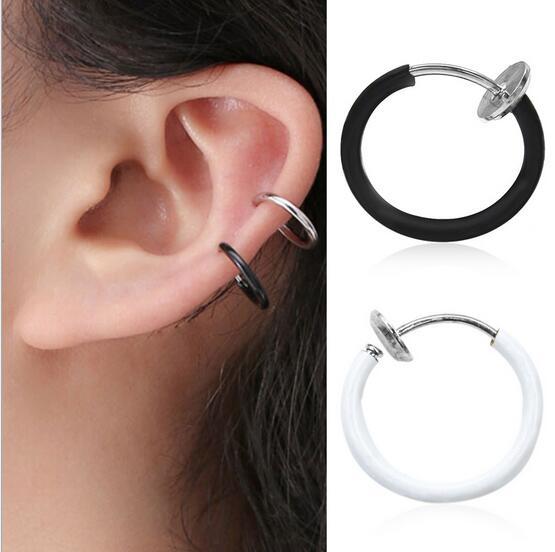 Fashion Punk Style Titanium Steel Mens Women Round Ear Clip On No Piercing multicolor earrings CED268