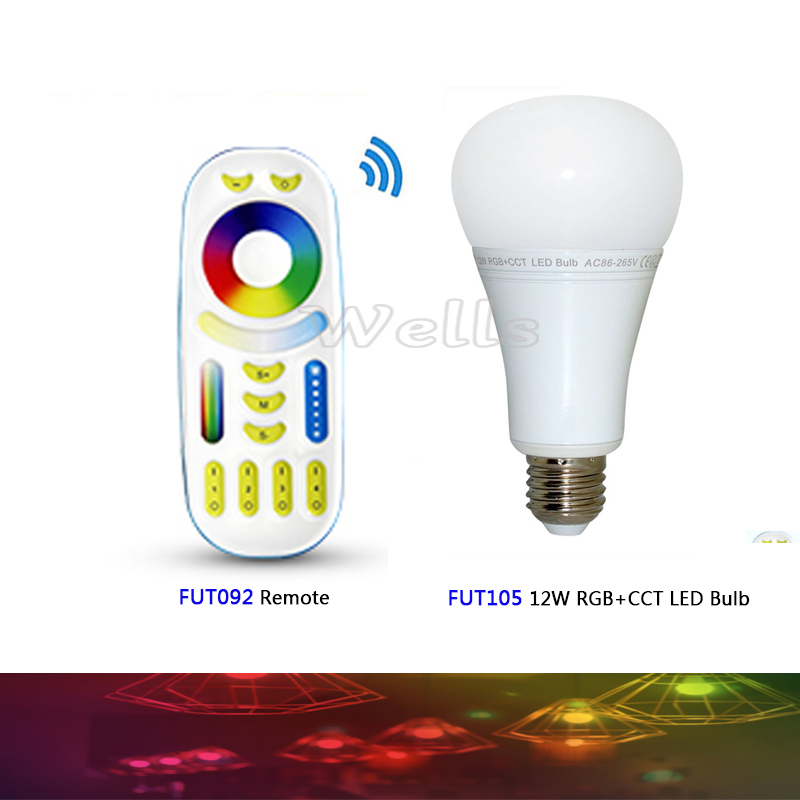 Mi.Light FUT105 2.4G 12W RGB+CCT Wireless E27 LED Bulb Dimmable 2 in 1 Smart LED Light + FUT092 4-Zone 2.4G RF Remote 95 105 1 12