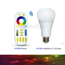 Miboxer FUT105 2.4G 12W RGB+CCT Wireless E27 LED Bulb Dimmable 2 in 1 Smart Light + FUT092 4-Zone RF Remote
