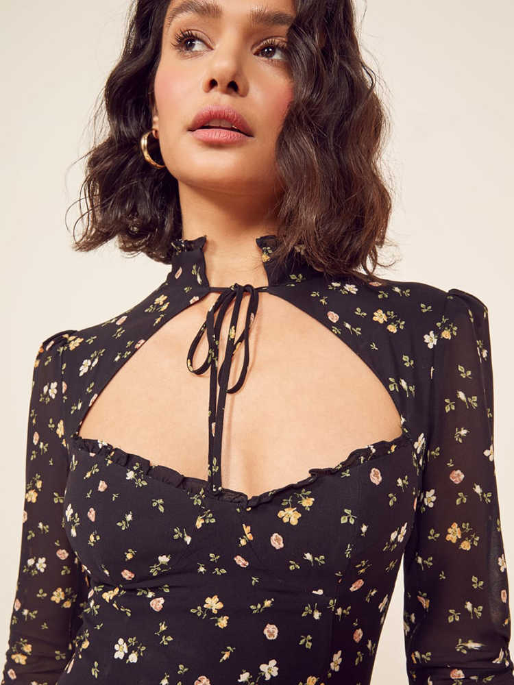 OOTN 2019 летнее шифоновое платье Холтер выдалбливают Женские повседневные короткие платья цветочный принт длинный рукав рюшами женский сарафан