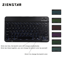 Zienstar 10inch Aluminum Wireless Keyboard Bluetooth with7 Colors Backlit for Apple IOS Android Tablet Windows PC