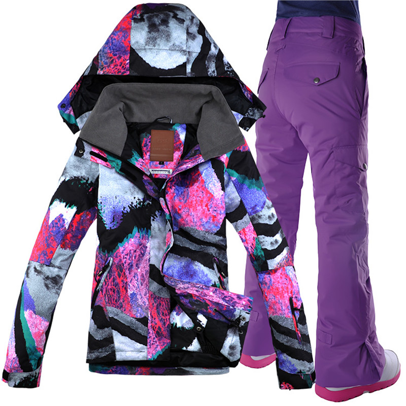 GSOU SNOW Women's Ski Suit Snowboard Suit Jacket + Pant Waterproof Windproof Clothing For Women Winter Clothing Free Shipping