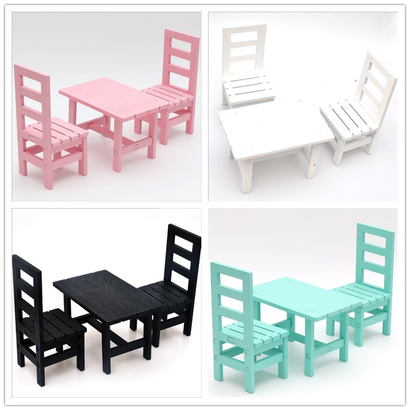 DIY Dollhouse Furniture Playset Wooden Table Chair For Barbie Doll Wooden Bench Miniature For Blythe Display Accessories