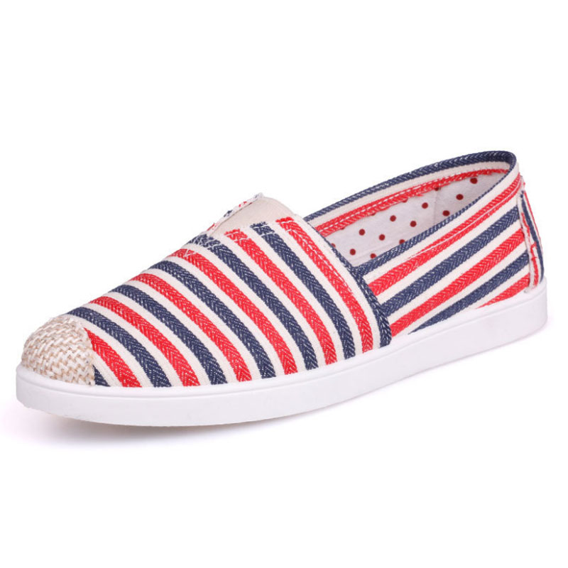 Summer Casual Women Comfort Shoes Printed Striped Canvas Women Loafers Ballet Flats Ladies Flat Shoes Espadrilles Female Shoes e lov new arrival luminous canvas shoes graffiti pisces horoscope couples casual shoes espadrilles women