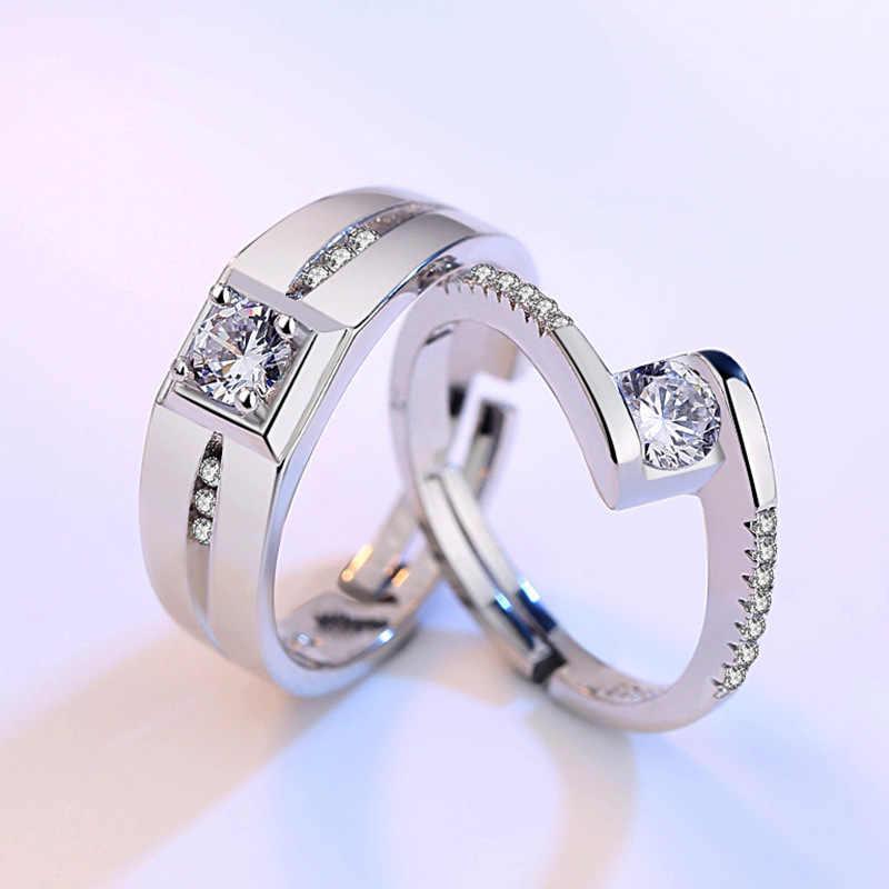 แหวน Zircon แหวนเงินแท้ 925 สีแหวน Anel ผู้ชายเครื่องประดับ Anillos คู่วาเลนไทน์