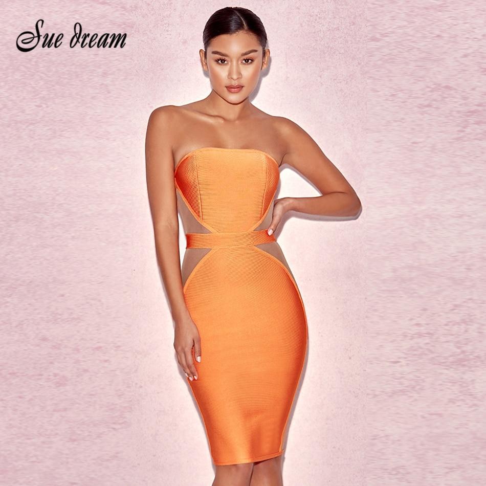 2017 Brand Summer orange Strapless Bandage Bodycon Dress s
