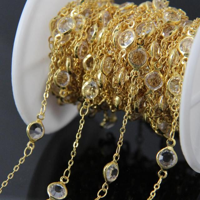 5Meter,Glass Faceted Round beads Coin Link Gold Plated Wire Wrapped Chains,Gold edge Glass Flat Connectors beads Chains
