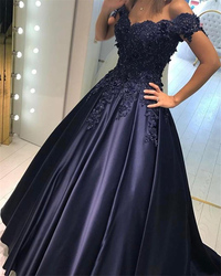 2019 New Arrival Appliques Prom Dress Long Navy Blue V-neck Ball Gown Satin Evening Formal Party Gown vestido de gala