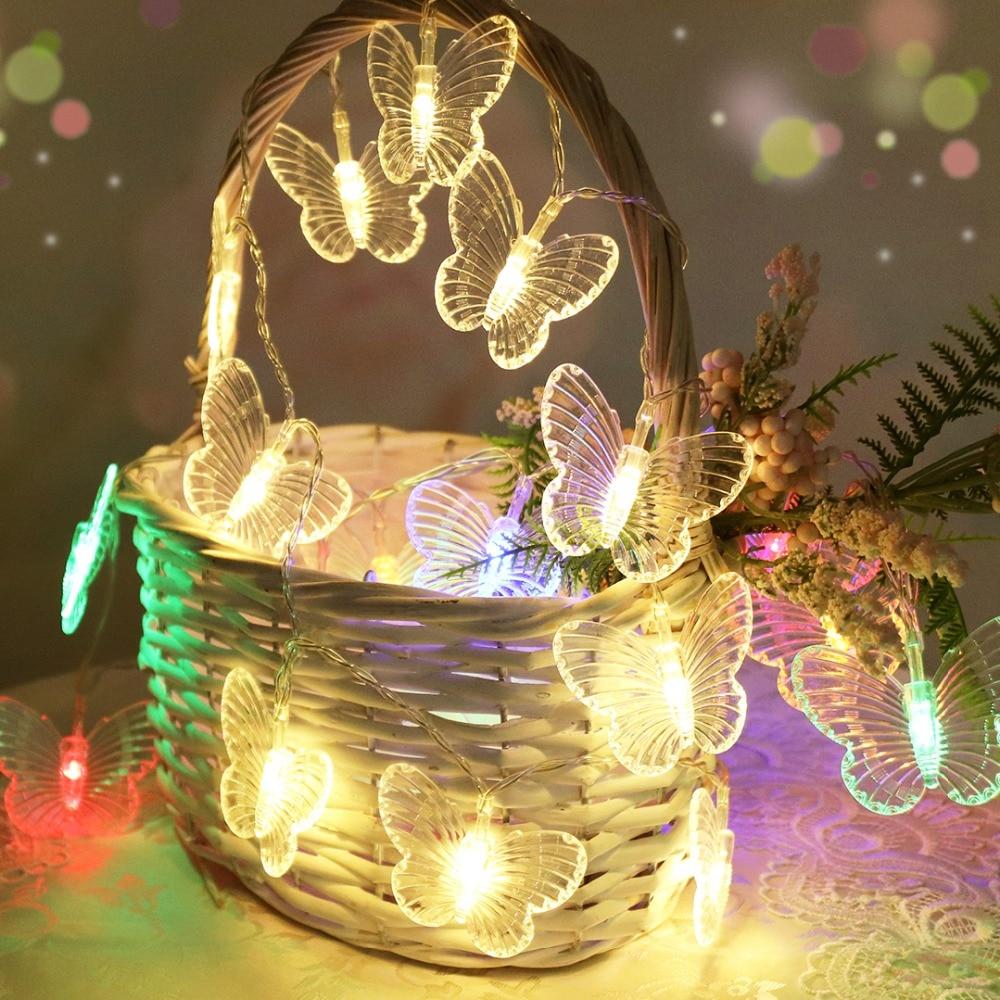5M 20 Butterflies LED String Light Garden Party Wedding Lights Christmas Holiday Garland 220V EU Plug Guirlande Lumineuse IQ