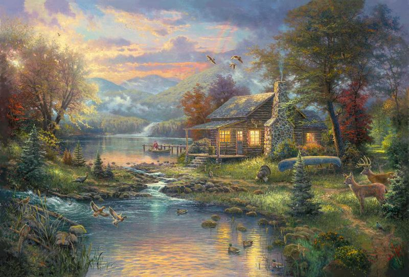 thomas kinkade oil painting prints stillwater cottage canvas art rh aliexpress com