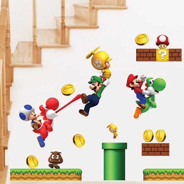 [La Fundecor] nuevo pvc Super Mario Bros Etiqueta de La Pared Decoración Para El