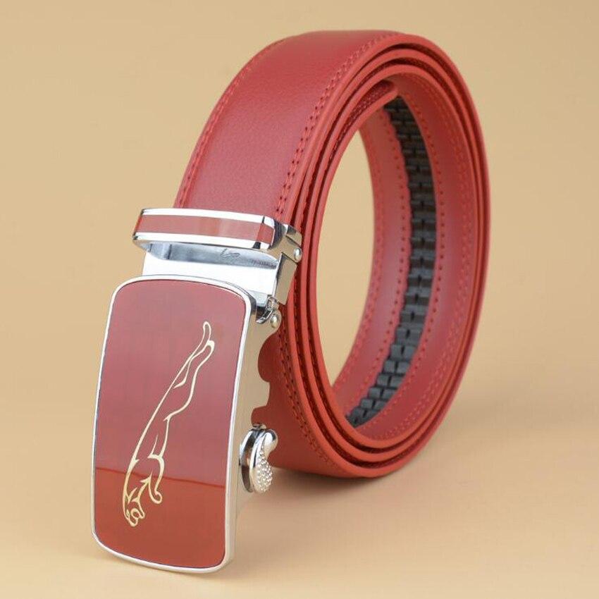 Automatic Buckle Red Belt Cowskin Business Belts Male Cow Leather Cow Boy Jeans Belt 125CM 130CM ZLB111