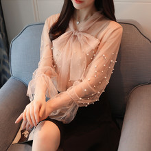 2018 2pcs Set Women Work Pearl Women Bow Blouse Autumn Mesh Blouse Long Sleeve Bow Tie Transparent Blouse Wome Sexy Mesh Shirts(China)