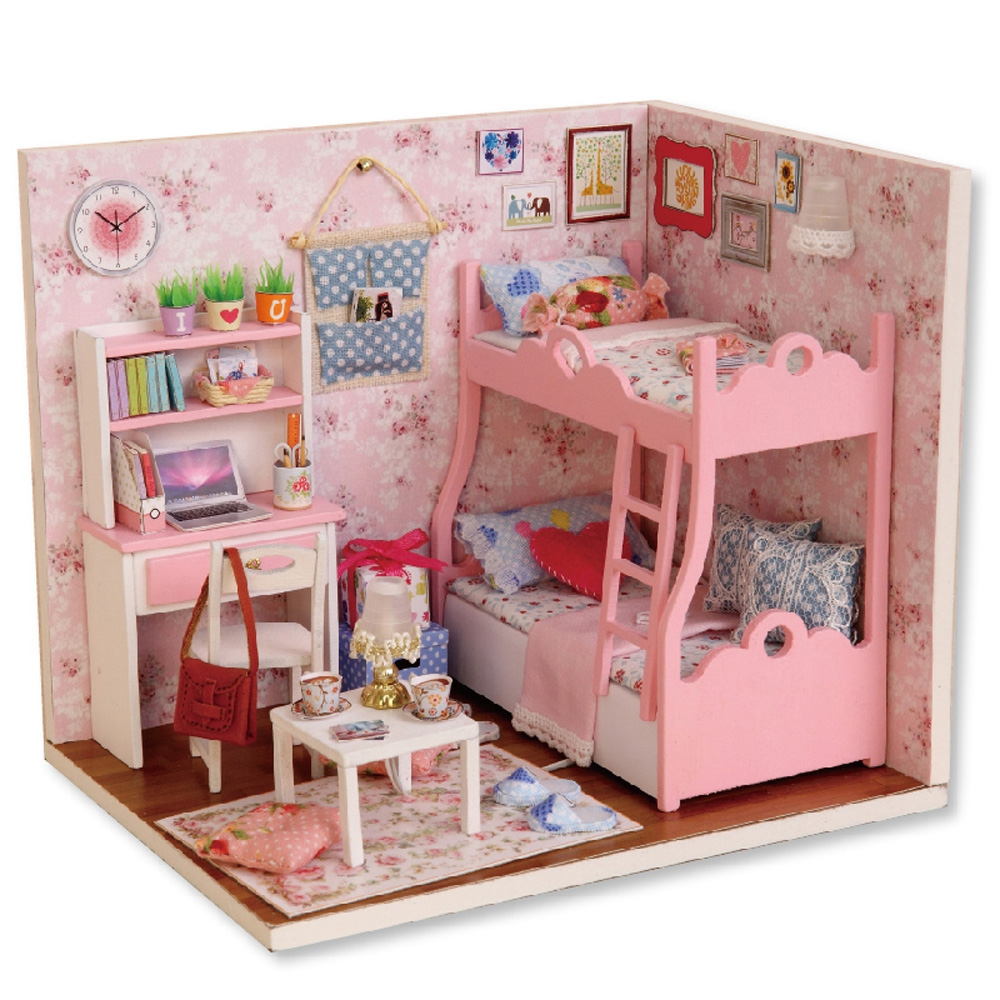 Kawaii Girls DIY Wooden Doll House Children Flashing Bedroom Set LED Light-up Toys Assembled Building Model Craft Toys Gifts