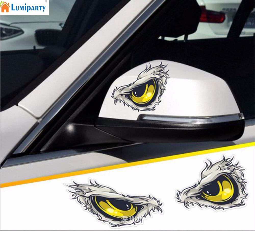 Adeeing Reflective 3D Eyes Decals Car Stickers Rearview Mirror Car Head Styling Sticker For Car Body Head Rearview Mirror R30