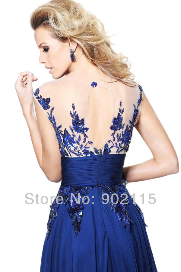e268386909 Most Beautiful Real Photo Evening Gowns Royal Blue Chiffon Evening ...