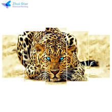 Zhui estrella bordado leopard 5 UNIDS pintura diamante 5d diamante bricolaje punto de Cruz taladro plaza llena Rhinestone mosaico Multi-imagen