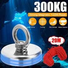300kg d75mm forte poderoso redondo ímã de neodímio gancho de salvamento ímã titular equipamento de pesca do mar puxando pote de montagem + anel