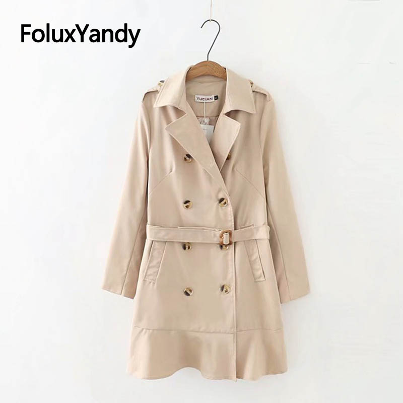 Casual Double Breasted   Trench   Coat Plus Size XXXL Adjustable Breasted Loose Ruffles Long   Trench   Outerwear KKFY2845