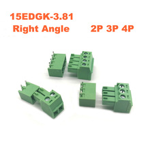 100pcs Pitch 3.81mm 15EDGK Right Angle Pin 2P 3P 4P Screw Plug-in PCB Terminal Block male/female Pluggable Connector morsettiera стоимость