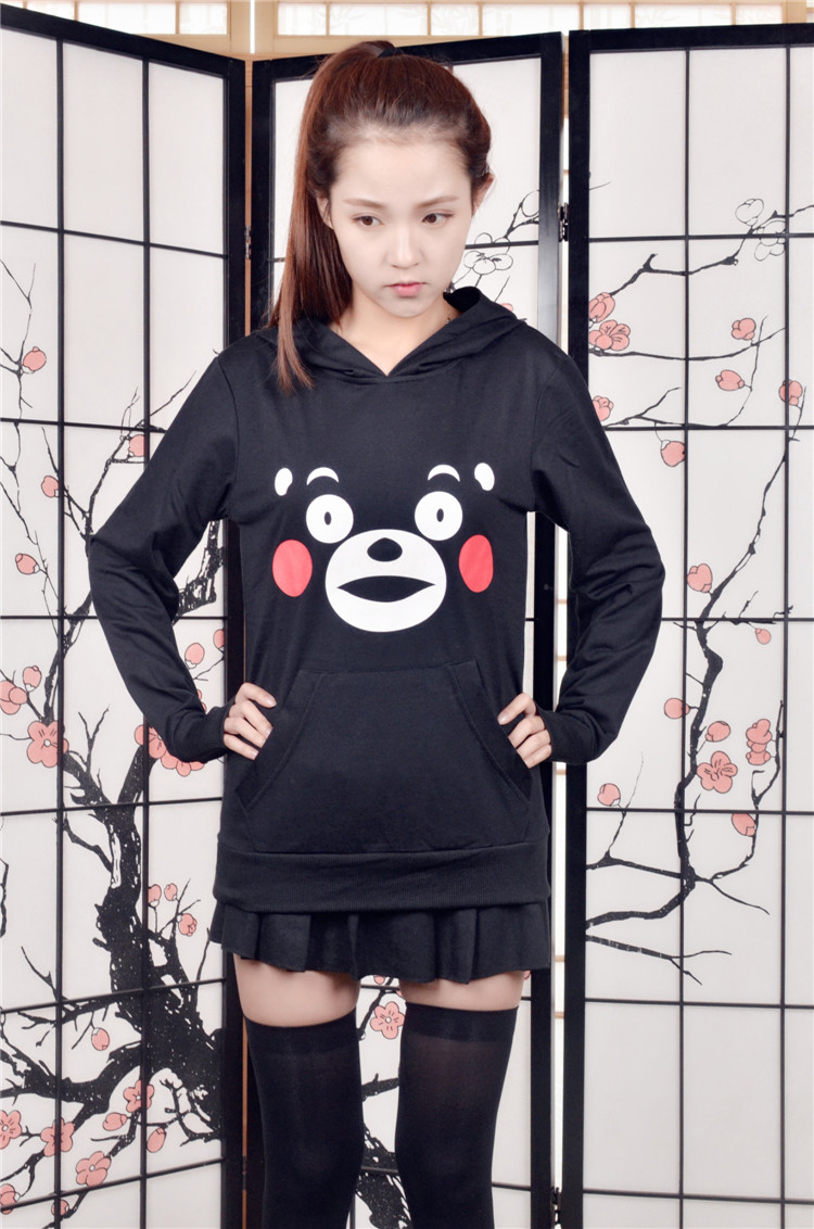 Anime Cospaly Costumes Cute Kumamon Cosplay Hoodies Unisex Daily Loog Sleeves Black Top Bear Funny Face Printed T Shirt