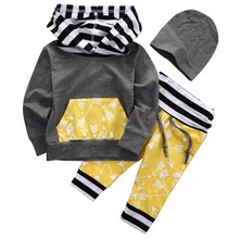 3pcs Baby Kids Boys Outfits Long Sleeve Hoodies Sweatshirt Pants Hat Set Striped Arrow Sportswear Clothes
