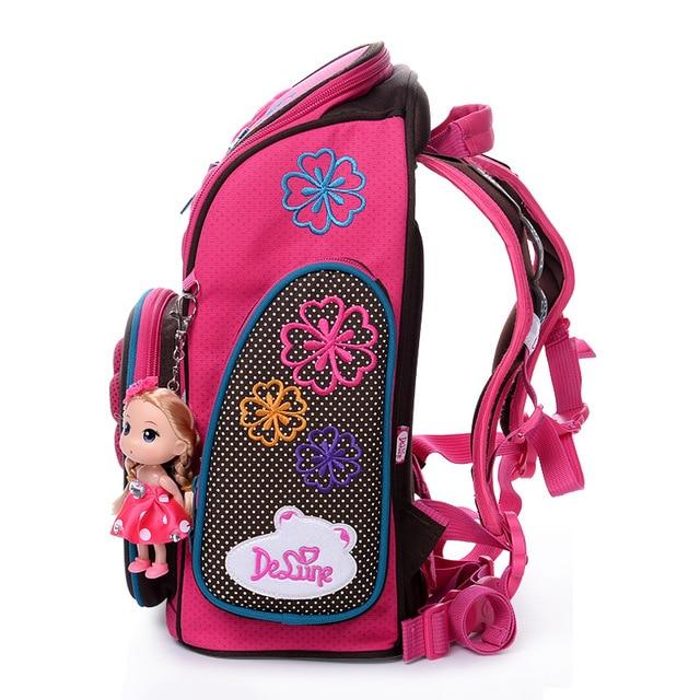 2017 Delune School Bag for Girls 3D Bear Pattern Owl Print Cartoon Backpack Children Orthopedic Floral Book Bags Schoold Bag New