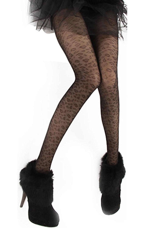 SAF-Women's Jacquard Leopard Pantyhose Tights Black